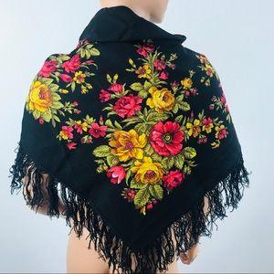 Vintage Russian Babushka scarf black fringe floral